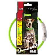 DOG FANTASY obojek LED nylon zelený 45cm - Obojek pro psy