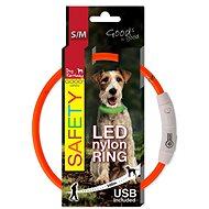 DOG FANTASY obojek LED nylon oranžový 45cm - Obojek pro psy