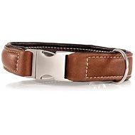 Maelson Ručně šitý obojek z pravé kůže - hnědý - obvod krku 43 - 49 cm, tloušťka obojku 45 mm - Kožený obojek pro psy