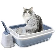 IMAC Cat Litter Tray with high edge and scoop - blue - L 59 × W 40 × H 28cm - Cat Litter Box