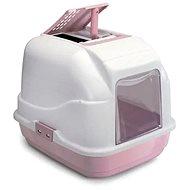 Kočičí toaleta IMAC Krytý kočičí záchod s uhlíkovým filtrem a lopatkou - růžový - D 50 × Š 40 × V 40 cm