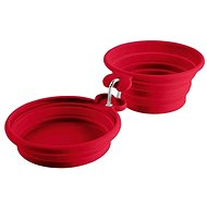 Hunter skládací dvojitá miska List, červená 350/700 ml - Cestovní miska pro psy a kočky