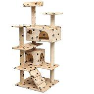 Shumee Škrabadlo se sisalovými sloupky béžová s tlapkami 67 × 67 × 125 cm - Škrabadlo pro kočky