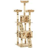 Shumee Škrabadlo se sisalovými sloupky béžové s tlapkami 50 × 50 × 170 cm - Škrabadlo pro kočky