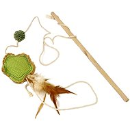 EP Wooden Stick Toy with Feather Jute Flower for Cats - Cat Toy