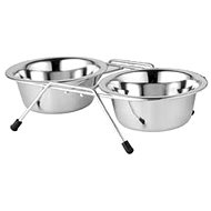 Akina 2 Stainless-steel Bowls in Stand, 225ml