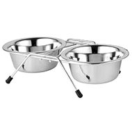 Akinu 2 Stainless-steel Bowls in Stand, 750ml - Dog Bowl