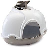 Kočičí toaleta IMAC Krytý kočičí záchod rohový s filtrem 52 × 52 × 44,5 cm šedý
