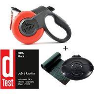 Fida Mars Samonavíjecí vodítko páskové červené M / do 25 kg + Pouzdro + Sáčky - Vodítko