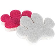 Kleeneze Paw šedá, růžová 2ks - Houba na mytí