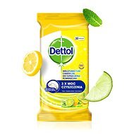 DETTOL Antibacterial Wipes on Surfaces Lemon and Lime 32 Pcs - Wet Wipes