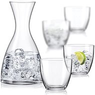 BOHEMIA CRYSTAL WATER SET karafa a sklenice na vodu 5ks - Karafa