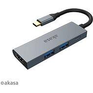 AKASA USB Type-C 4-in-1 Hub - 2 x USB3.0 Type A + PD Type C s HDMI / AK-CBCA19-18BK - USB Hub