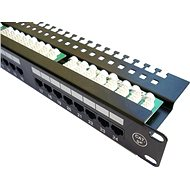 "Datacom Patch panel 19"" UTP 24 port CAT5E LSA 1U BK (3x8p)hor.zářez"