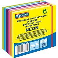 DONAU 76 x 76 mm, 400 lístků, neon-pastelový - Samolepicí bloček