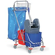 ALLSERVICES Úklidový vozík 2 × 15 l s držákem na pytel 120 l a košíkem