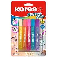 KORES Glitter glue 5× 105 ml, pastelové barvy - Lepidlo
