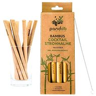 PANDOO Short Cocktail Bamboo Straw with Cleaning Brush Set of 12 Pcs - Straws