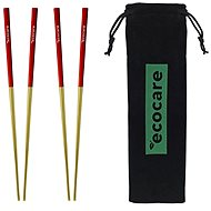 ECOCARE Metal Chopsticks with Gold-Red Cover 4 pcs - Cutlery Set