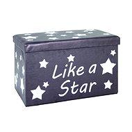 Stars storage box, 40 cm, white / gray - Box