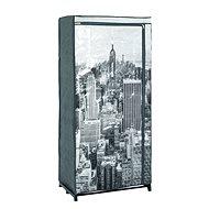 Šatní textilní skříň Horizonta, 160 cm, šedá / černá - Šatní skříň