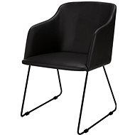 Design Scandinavia Blanka s područkami, černá kůže - set 2 ks - Konferenční křeslo