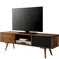Brüxxi TV table with 2 doors Beet, 140 cm, Sheesham solid wood, black