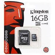 Kingston MicroSDHC 16GB Class 4 + SD adaptér - Paměťová karta