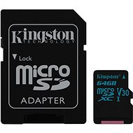 Kingston Canvas Go! MicroSDXC 64GB UHS-I U3 + SD adaptér - Paměťová karta