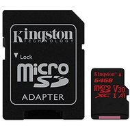 Kingston Canvas React MicroSDXC 64GB A1 UHS-I V30 + SD adaptér - Paměťová karta