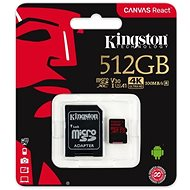 Kingston Canvas React MicroSDXC 512GB A1 UHS-I V30 + SD adaptér - Paměťová karta
