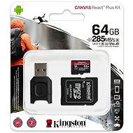 Kingston Canvas React Plus microSDXC 64GB + SD adaptér a čtečka karet - Paměťová karta