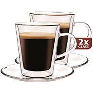 Maxxo Thermo DF909 Glass Cups + 2 Saucers - Thermo-Glass