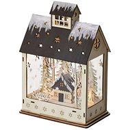 EMOS LED vánoční domek, 30 cm, 2× AA, teplá bílá, časovač