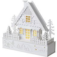 EMOS LED vánoční domek, 28 cm, 2× AAA, teplá bílá, časovač