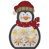 EMOS LED vánoční tučňák dřevěný, 30 cm, 2× AAA, teplá bílá, časovač