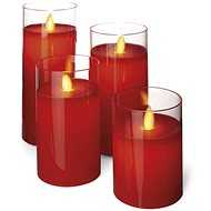 EMOS LED Candles, 7.5 × 10 / 12.5 / 15 / 17.5cm, Red, 2 × AA, 4 pcs