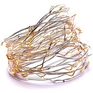EMOS 100 LED vánoční řetěz měděný nano, 10m, IP44, teplá bílá, čas. - Vánoční osvětlení