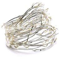 EMOS 100 LED vánoční řetěz stříbrný nano, 10m, IP44, studená bílá, čas.