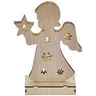 EMOS LED Christmas Tree Angel Wooden, 2× AA, Warm White, Timer - Christmas Lights