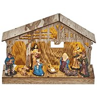 EMOS LED Christmas Nativity Scene, 19cm, 2 × AA, warm white, timer - Christmas Lights