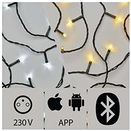 Aplikací ovládaný LED vánoční řetěz, 20m, venkovní, studená/teplá bílá - Vánoční osvětlení