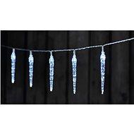 LED vánoční girlanda – 10x rampouch, 2x AA, studená bílá, časovač - Vánoční řetěz