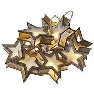 LED vánoční girlanda – hvězdy 3D, 2x AA, teplá bílá, časovač - Dekorativní osvětlení