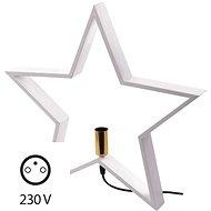 Svícen na žárovku E14 dřevěný bílý, hvězda, 48cm, vnitřní - Svítící hvězda