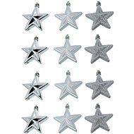 Baňka hvězda stříbrná set 12 kusů - Vánoční ozdoby