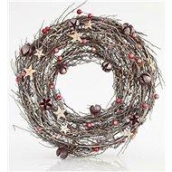 EUROLAMP Hnědý věnec s pomegranáty a zlatými hvězdami - Vánoční ozdoby