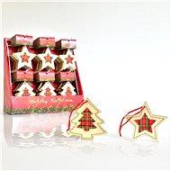 Krabička s dřevěnými ozdobami, kostkovaný dekor, 10cm - Vánoční ozdoby