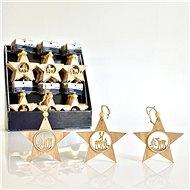 Dřevěná hvězda, 11 cm - Vánoční ozdoby