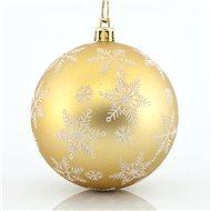 Plastové zlaté koule s bílým dekorem vloček, 8 cm - Vánoční ozdoby